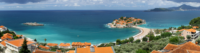 Panoramic view of Sveti Stefan (St. Stefan) island in Adriatic Sea