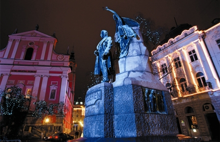 Monument of F. Prešeren, the greatest Slovenian poet (Author - A. Fevžer)