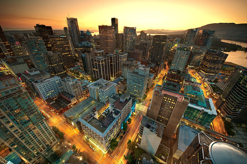 View of downtown Vancouver from the Lookout Tower at Harbour Centre - Author MagnusL3D