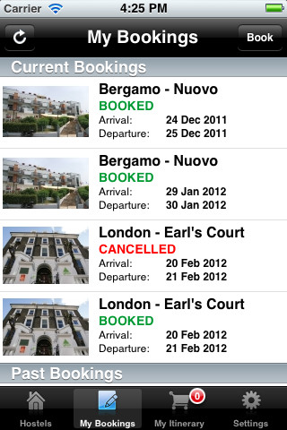 iPhone My Hostel Bookings