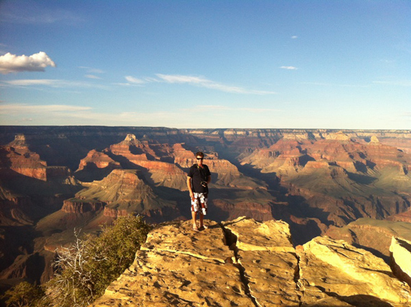 My husband standing on the edge of the Canyon