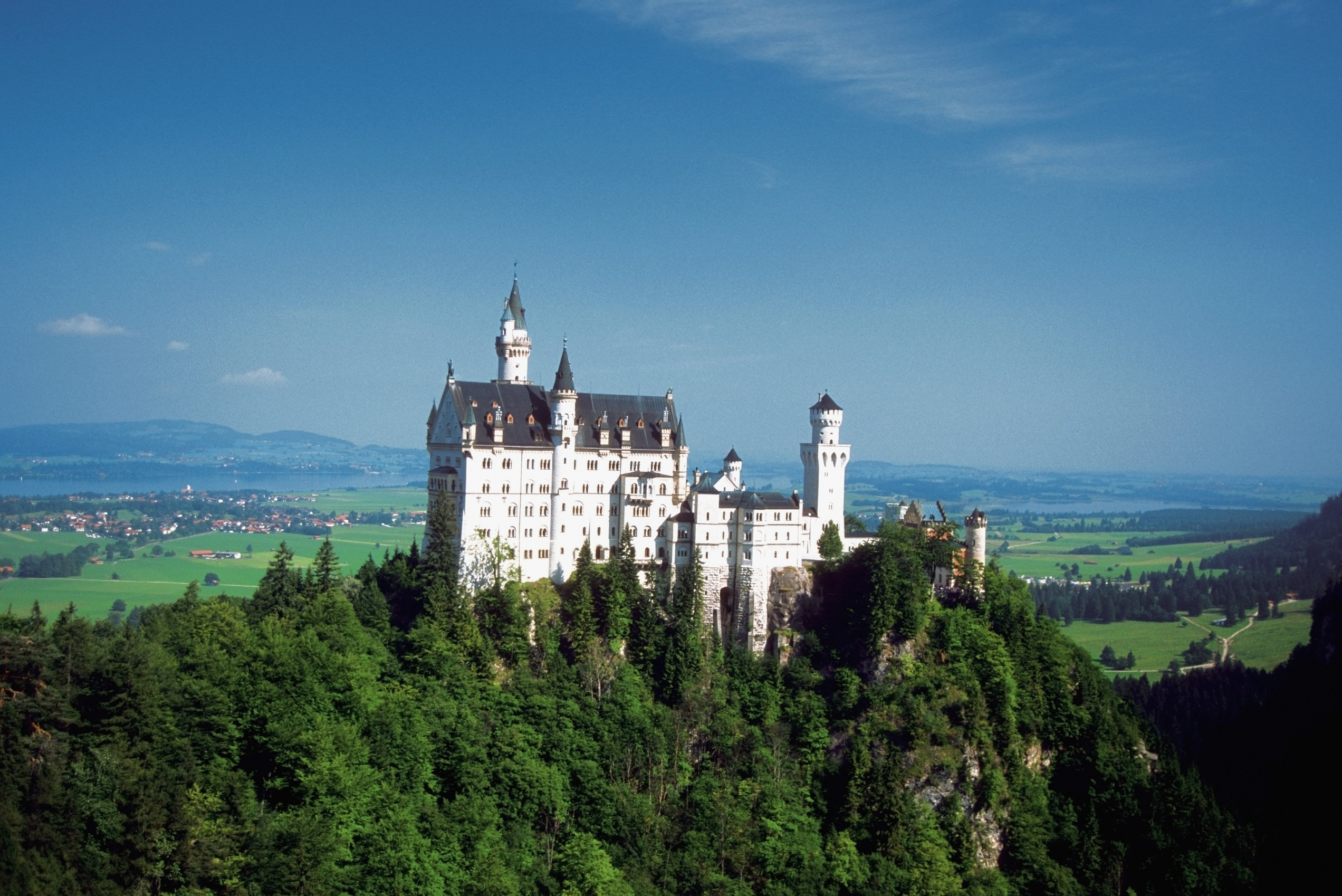 Neuschwanstein Castle on the top of a mountain, Fuessen, Germany