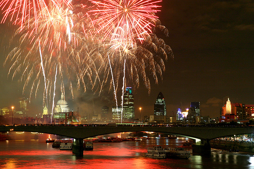 Fireworks over the River Thames