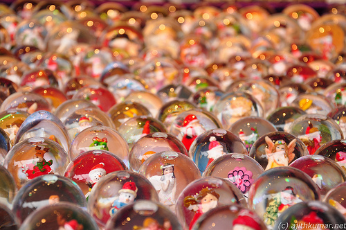 Snowglobes for sale in Cologne Christmas Market, Germany