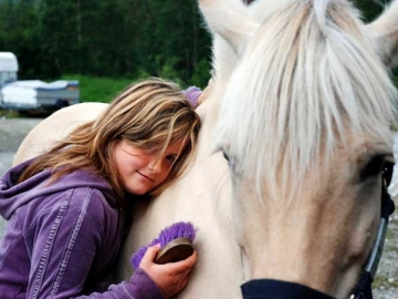 Girl with horse in Norway