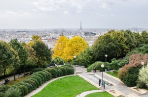 View from Parc de Belleville in Paris, France