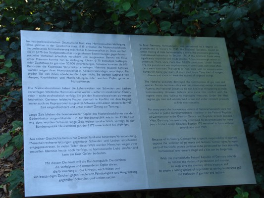 Plaque in Berlin - Memorial to Homosexuals Persecuted Under Nazism
