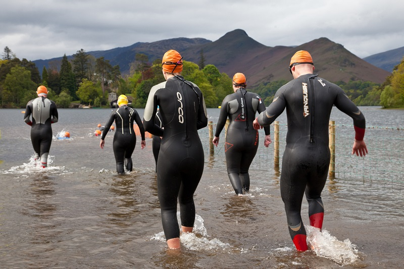 Entering Derwentwater at the Keswick Mountain Festival Triathlon