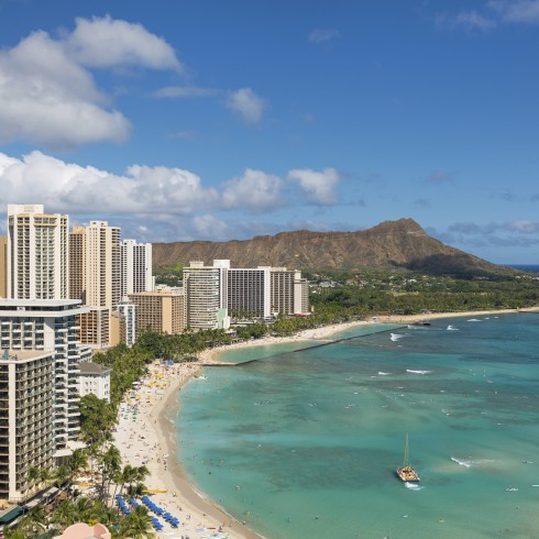 Scenic view of Waikiki Beach