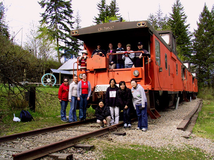 At HI - Shuswap Lake, Canada you can sleep in a real Canadian Caboose train carriage whilst sampling their home grown goodies.
