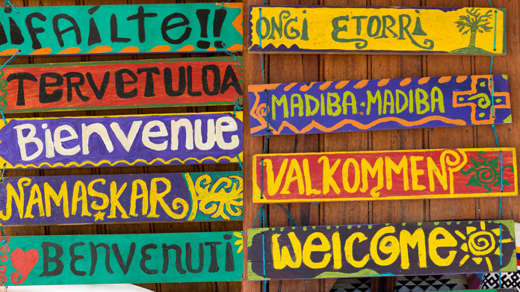 Welcome language sign