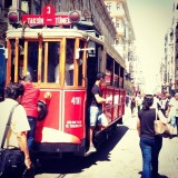 Tram going through Istiklal and Taksim