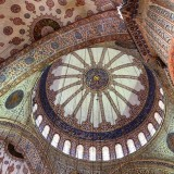 Ceiling of Hagia Sophia, a museum which was formerly both an imperial mosque and a Greek Orthadox basilica.