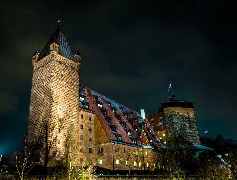 Nuremberg Hostel Castle at night