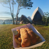Fish and chips at the Royal Botanic Garden next to the Sydney Opera House!