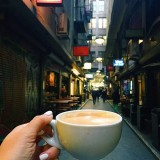 A Flat White from 3 Lil Monkey at Center Place, the prettiest lane in Melbourne!