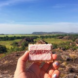 On a 3 day camping tour to Kakadu and Litchfield. Snacking on an Iced VoVo (a classic Australian biscuit with pink icing, jam and coconut) at the top of Ubirr Rock, a beautiful national park full of Aboriginal painting on the rock walls.