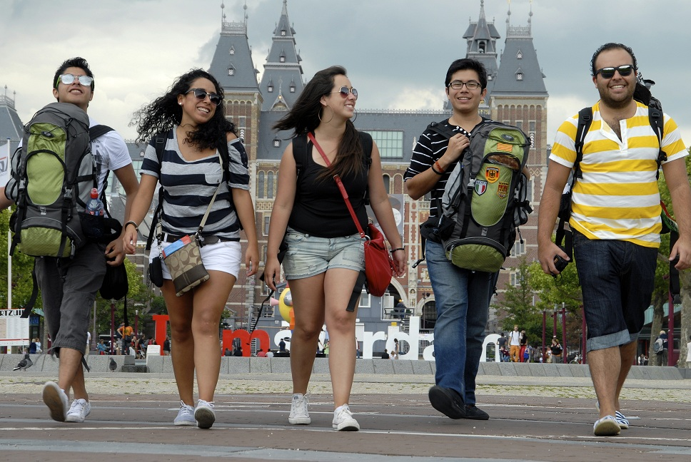 Backpackers in Amsterdam