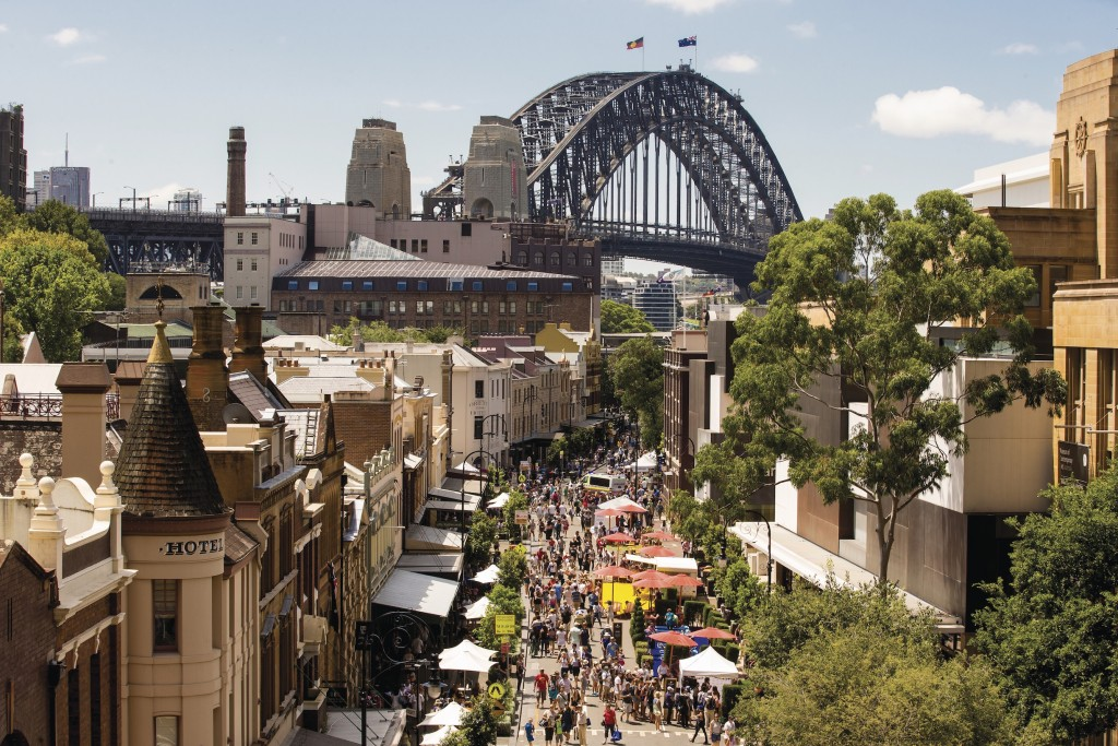 A view of Australia Day in the historical Rocks precinct.
