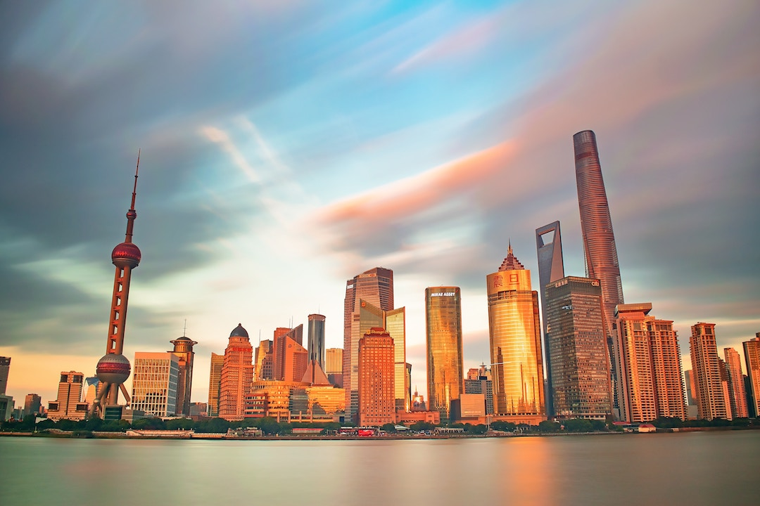 Shanghai Tower (right) can be seen towering over the rest of the city's skyline.
