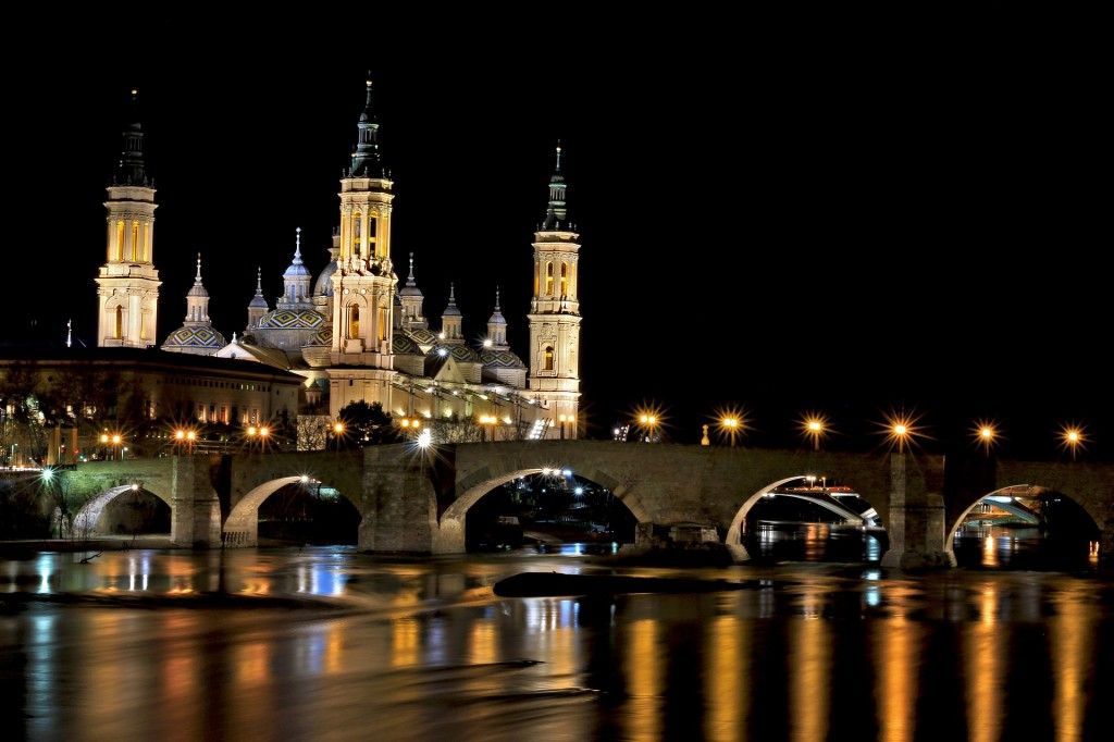 Cathedral-Basilica of Our Lady of the Pillar overlooking the Ebro River in Zaragoza, Spain