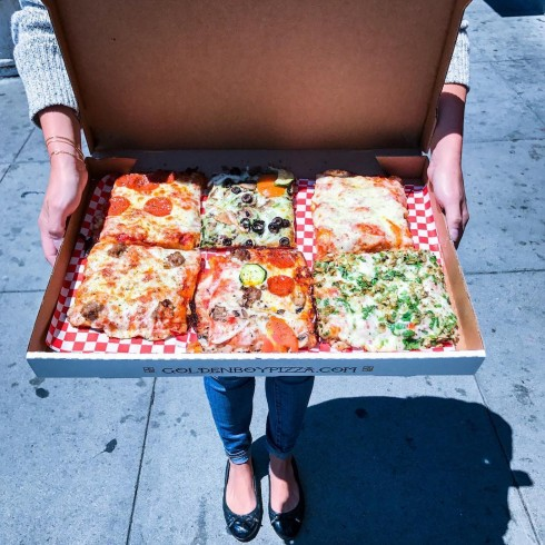 Slices of focaccia pizza from Golden Boy by @marinfoodie