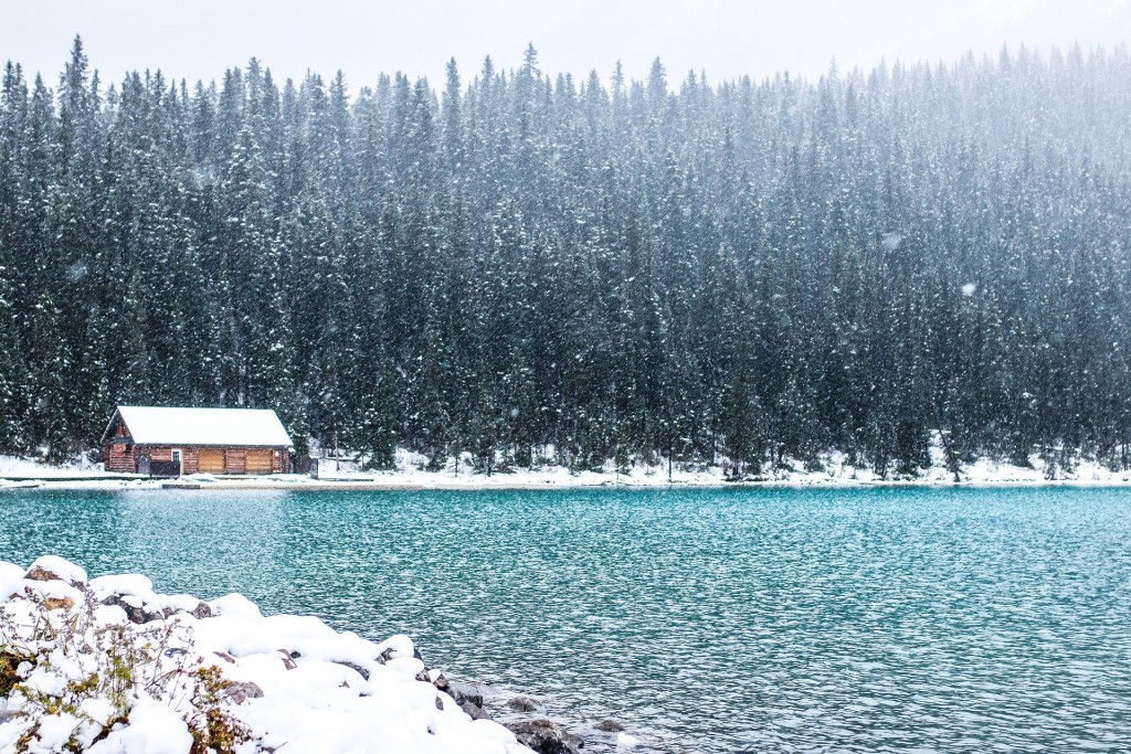 Snowy cabin on the shores of Lake Louise