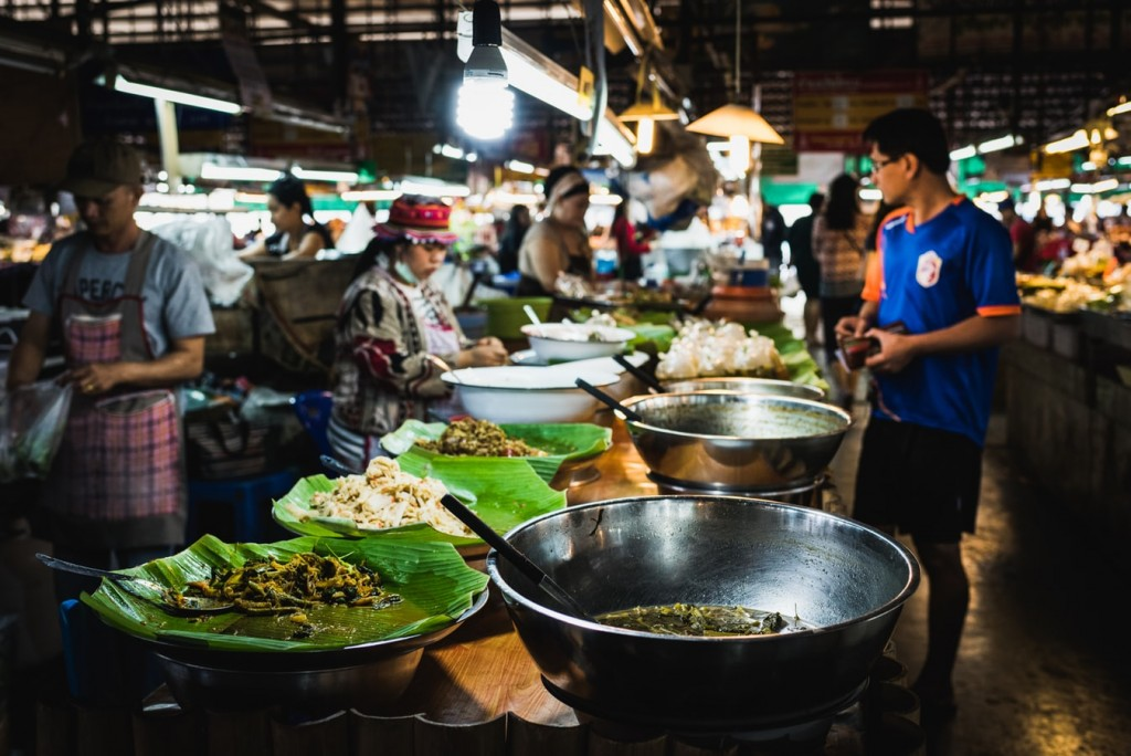 food market in chiang mai, thailand